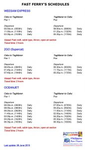 Ferry schedules as of July 2015 b