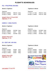 Flight schedules Philippine Fun Divers Alona Beach Panglao Bohol Philippines