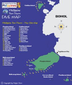 PFDB dive sites map for Bohol Philippines