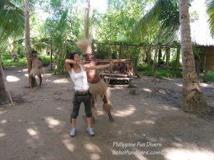 Philippine Fun Divers Alona Beach Panglao Bohol Adventure trip Loboc River Ate tribe Rena Sugiyama bow and arrow shooting