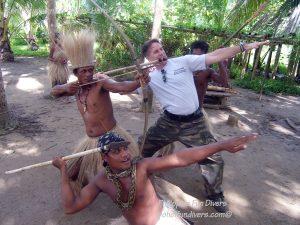 Philippine Fun Divers Alona Beach Panglao Bohol Adventure trip Loboc River Ate tribe bow and arrow and speer training