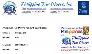 Philippine Fun Divers Alona Beach Panglao Bohol Philippines GPS coordinates